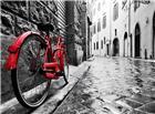 红色单车黑白街景唯美图片
