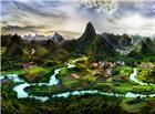 奇幻的山村小河围绕美丽图片