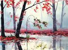 秋雨打湿的红色枫叶图片