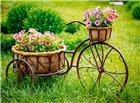 古铜花篮开满鲜花唯美图片