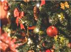 挂满饰品的圣诞树片景图片