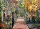 秋季枫林木板小路油画艺术图片