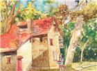 金色的秋天村头的一个女孩抱着篮子正在收获苹果