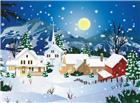 山村村落夜晚月亮雪景图片
