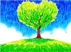 心形树木油画图片