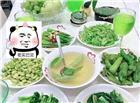 老实巴交(一桌子全是绿色蔬菜的盘子)
