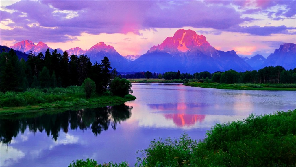 湖泊河流晚霞山坡风景图片(点击浏览下一张趣图)