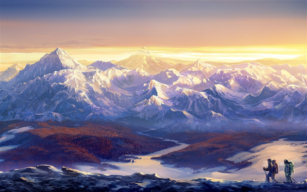 连绵的雪山和登山爱好者图片(点击浏览下一张趣图)