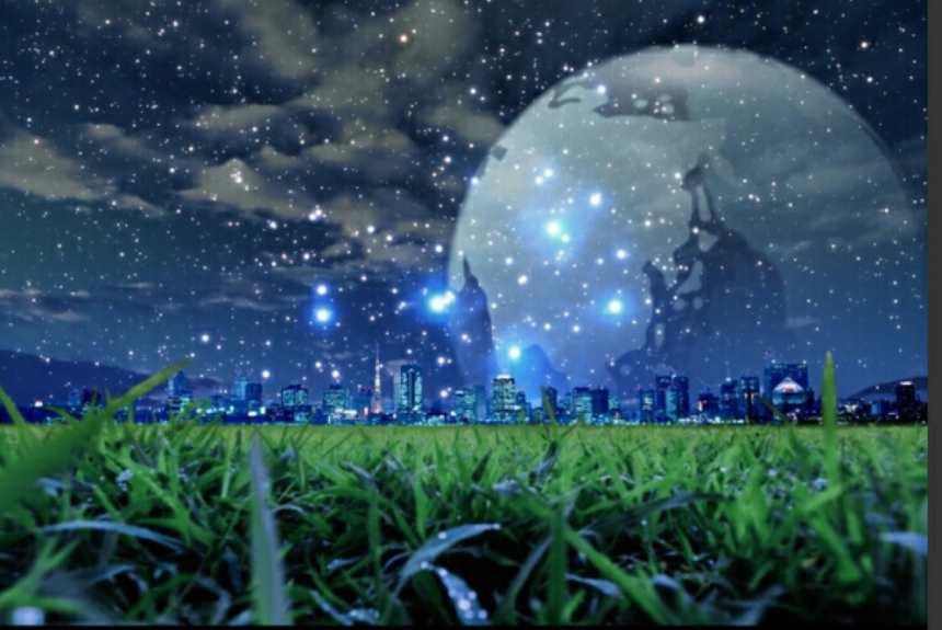 坐在茂盛的草坪眺望远处的城市星光图片(点击浏览下一张趣图)