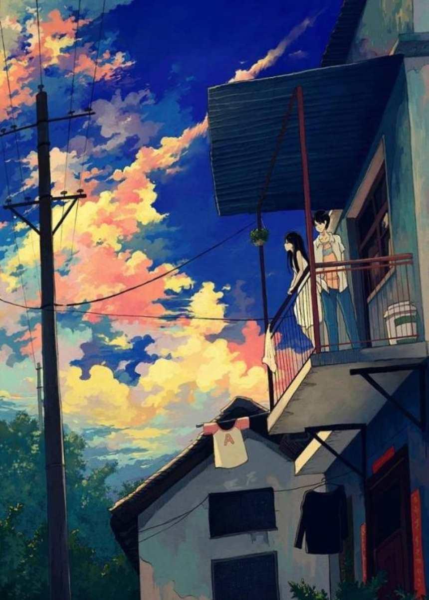 黄昏和女朋友在农村的楼房上图片(点击浏览下一张趣图)