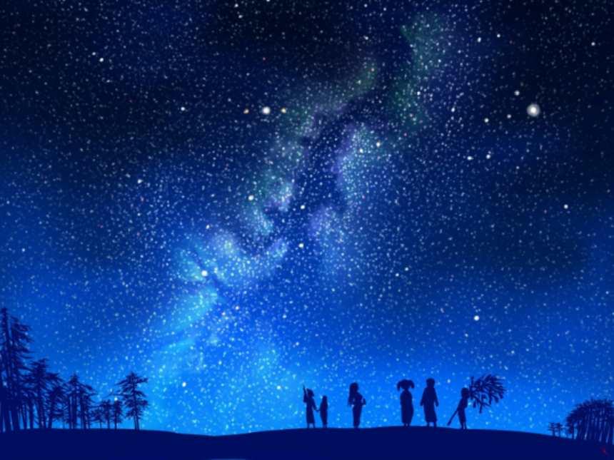 夜空闪烁的大地上没有回家休息的孩童在玩耍(点击浏览下一张趣图)