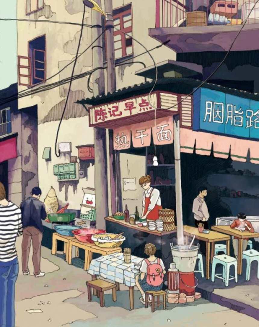 在热闹的街角一个早点包子店正在营业(点击浏览下一张趣图)