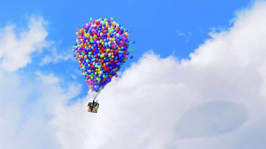 很多气球绑在一起升空蓝天背景图片(点击浏览下一张趣图)