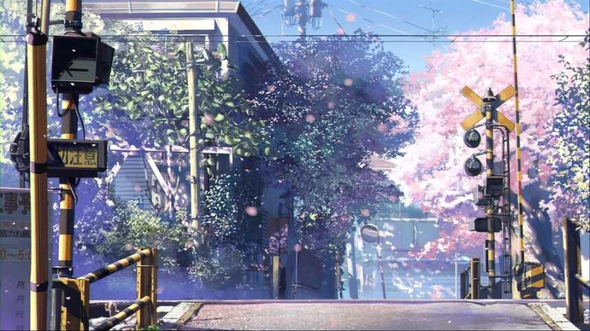 火车道口樱花树春天唯美图片(点击浏览下一张趣图)