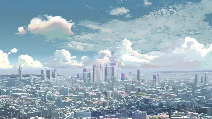 城市眺望高楼蓝天白云动漫图片(点击浏览下一张趣图)
