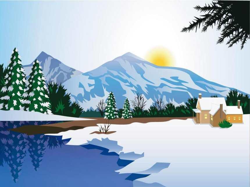 冬日山村白雪皑皑日出动漫图片(点击浏览下一张趣图)