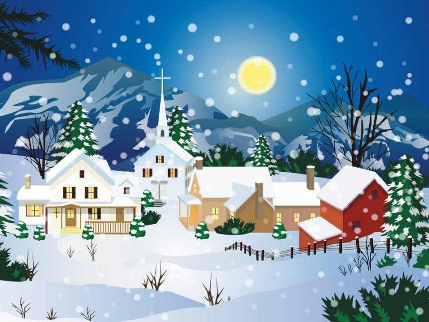 山村村落夜晚月亮雪景图片(点击浏览下一张趣图)
