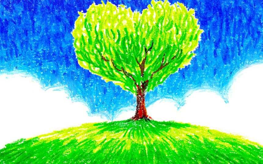心形树木油画图片(点击浏览下一张趣图)