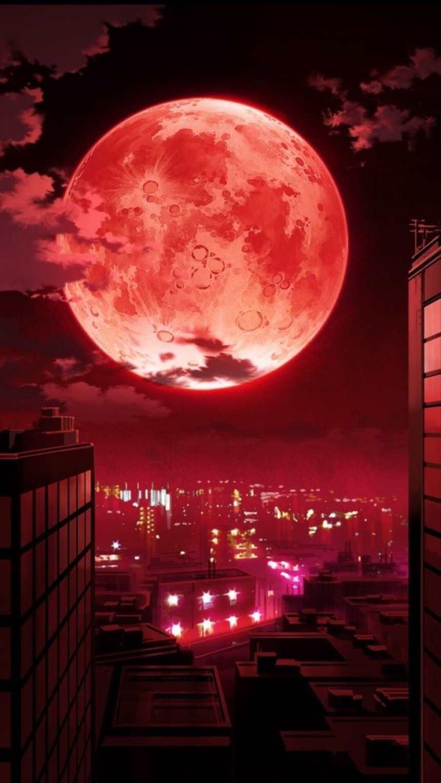 血红的月亮笼罩着城市(点击浏览下一张趣图)