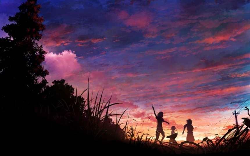 傍晚落日晚霞下还在玩耍的儿童背影图片(点击浏览下一张趣图)