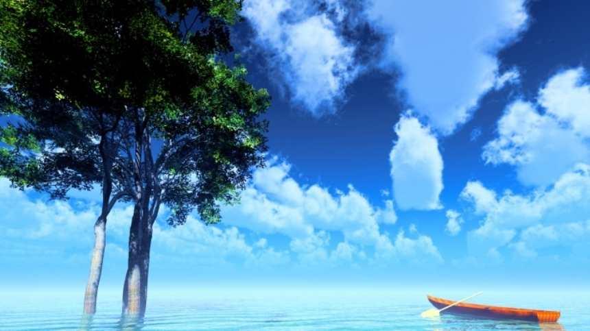 平静湖面上两棵大树和一个小舟(点击浏览下一张趣图)
