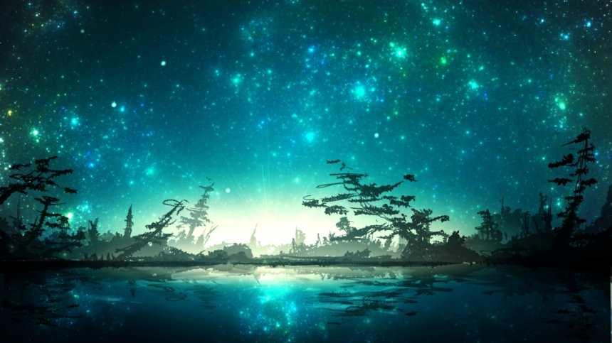 夜空下闪烁的蓝色湖面靓丽风景(点击浏览下一张趣图)