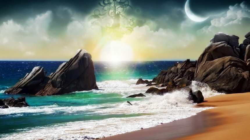 海边海浪月亮岩石唯美风景(点击浏览下一张趣图)
